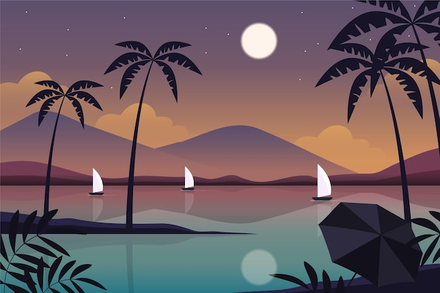 Flat summer background for videocalls