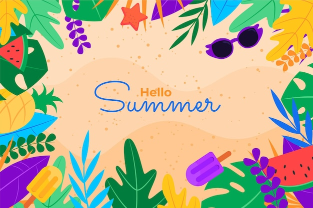 Flat summer background for videocalls