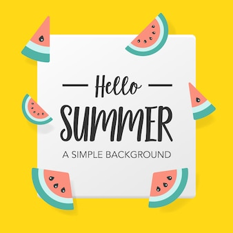 Flat summer background with watermelon