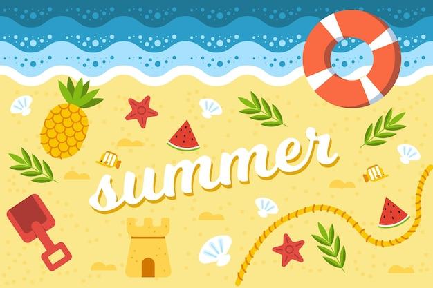 플랫 여름 배경