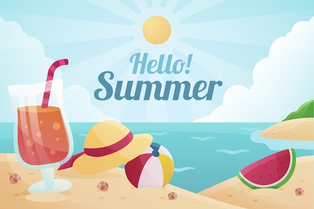 Flat summer background