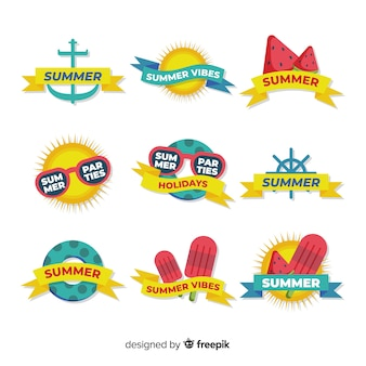 Flat summer badge collection