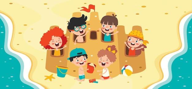 Плоский летний баннер с мультипликационным персонажем