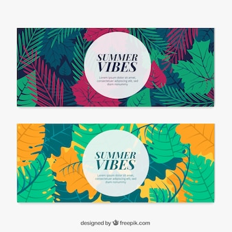 Flat summer banners with colored leaves