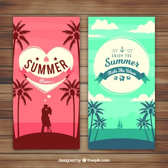 Flat summer banners with silhouettes