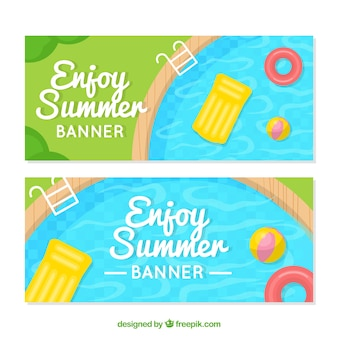 Flat summer banners with swimming pool