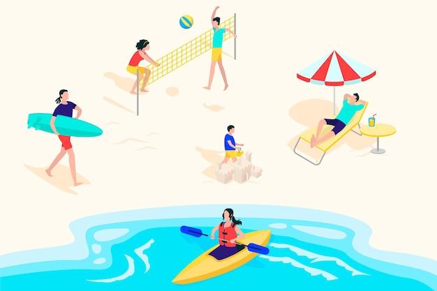 平らな夏のビーチのシーンのイラスト