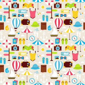 Flat summer beach vacation holiday seamless pattern. travel flat design vector illustration. tiling background. collection of summer holidays and beach resort colorful objects.