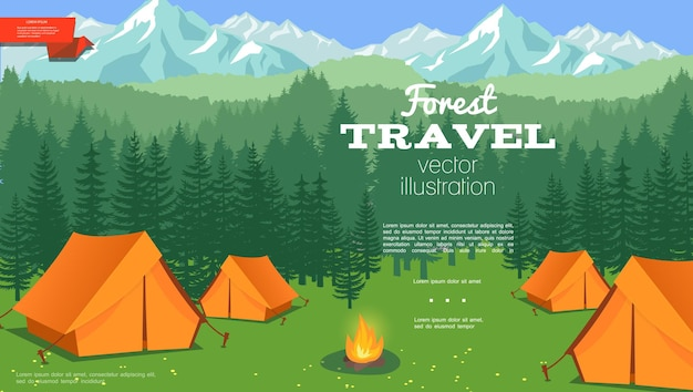 Плоский летний кемпинг шаблон с палатками и костром на иллюстрации пейзажа леса и гор