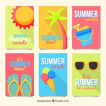 Flat summer card collection of six