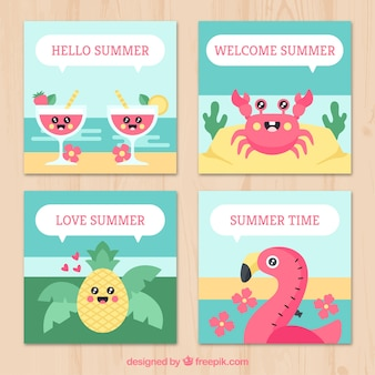 Flat summer card collection