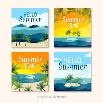 Flat summer cards collection