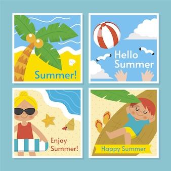 Коллекция плоских летних открыток
