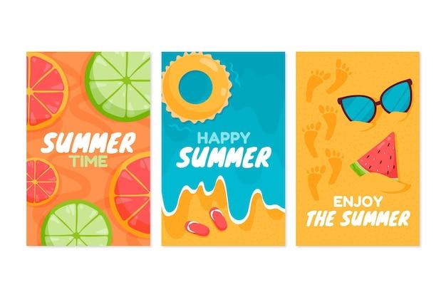 플랫 여름 카드 컬렉션