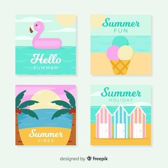플랫 여름 카드