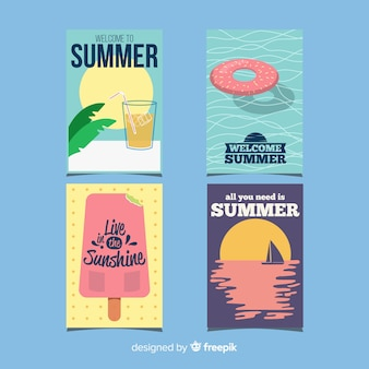 Flat summer cards