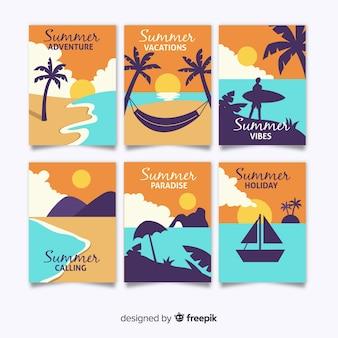 Плоские летние открытки