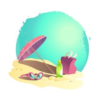 フラット夏漫画イラスト。海の海岸、砂、空。砂の上に休日のアクセサリーを置きます。サングラス、傘、バッグ、クリームボトル。夏のポストカード、広告、ポスター。
