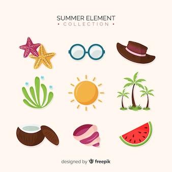 Плоская летняя коллекция элементов
