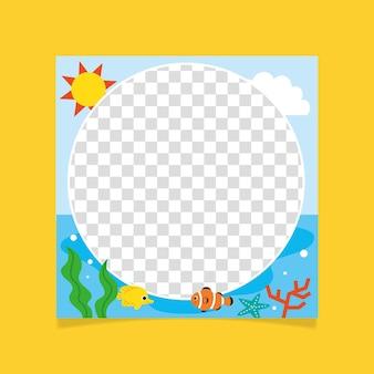 Flat summer facebook frame template