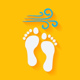 Flat summer footprints on the beach. vector illustration flat stylized