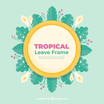 Flat summer frame with tropical leaves