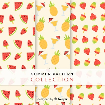 Плоская летняя фруктовая коллекция