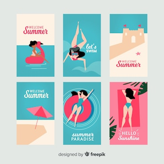 Flat summer girl card collection