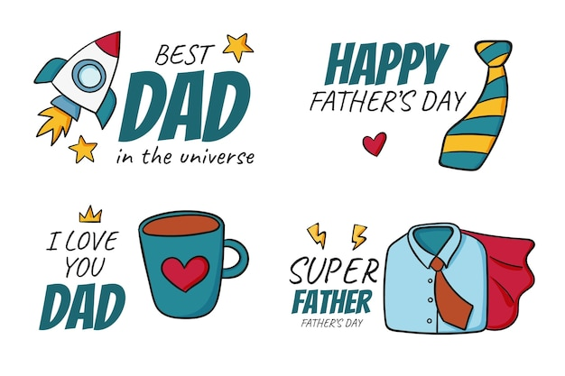 Flat summer hand drawn father's day badge collection