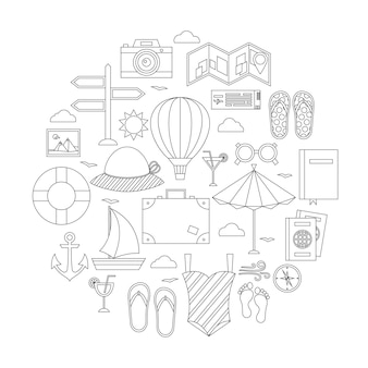 Flat summer holiday line objects set. vector illustration of travel objects isolated over white