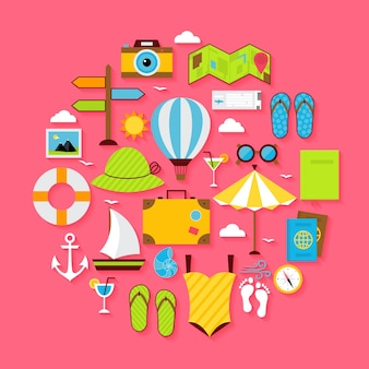 Flat summer holiday objects set. vector flat stylized  vacation, travel and sea illustration