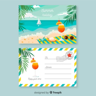 Flat summer holiday postcard