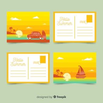 Flat summer holiday postcard