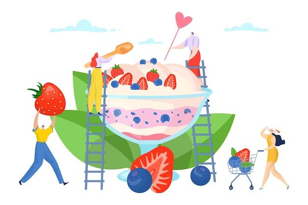 Плоский летний мороженое сладкий десерт дизайн