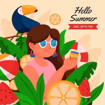 Плоская летняя иллюстрация