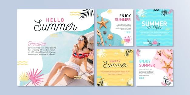 フラットな夏のinstagramの投稿コレクションと写真