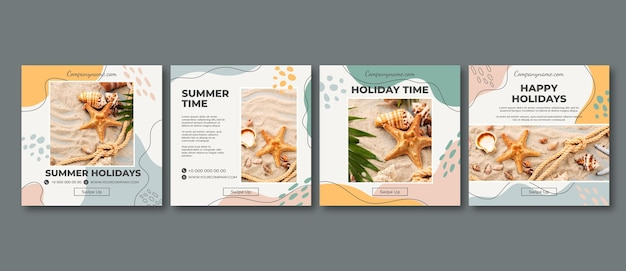 Flat summer instagram posts collection with photo