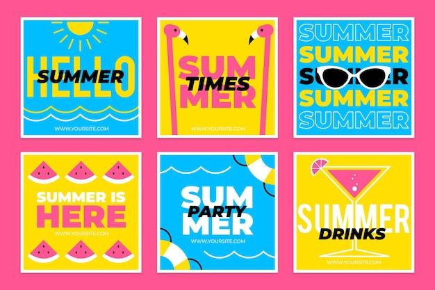 フラットな夏のinstagramの投稿コレクション 無料ベクター