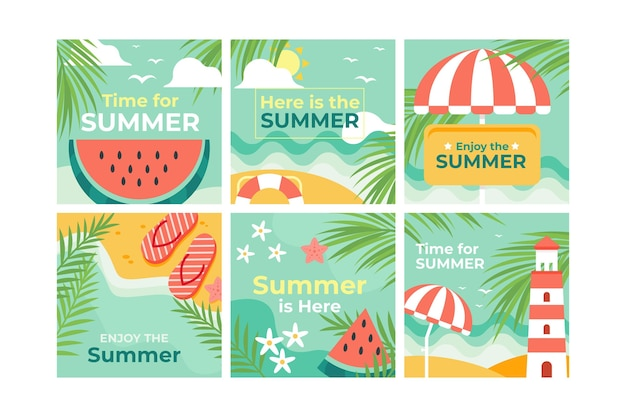 Flat summer instagram posts collection