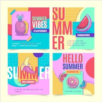 Плоская летняя коллекция постов instagram