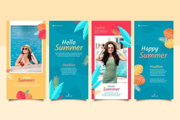 Raccolta di storie instagram piatte estive con foto Vettore gratuito