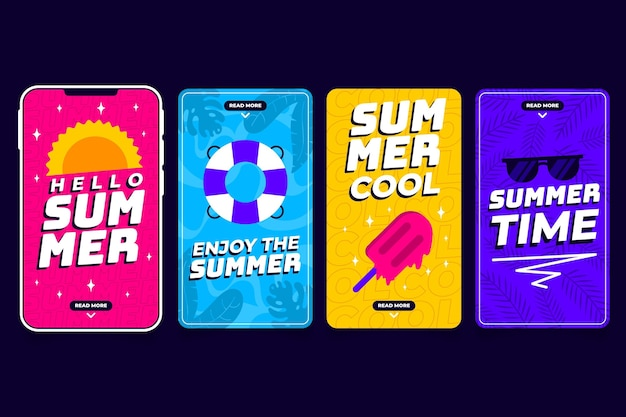 Flat summer instagram stories collection with photo Free Vector