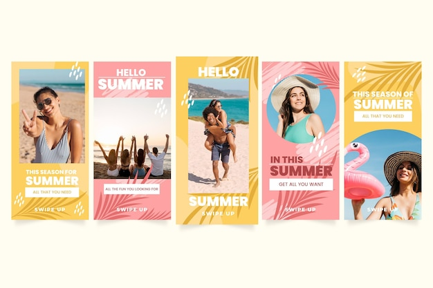 Flat summer instagram stories collection with photo