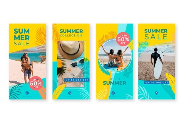 Raccolta di storie instagram piatte estive con foto
