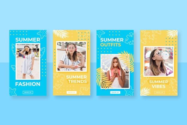 写真付きフラット夏のinstagramストーリーコレクション