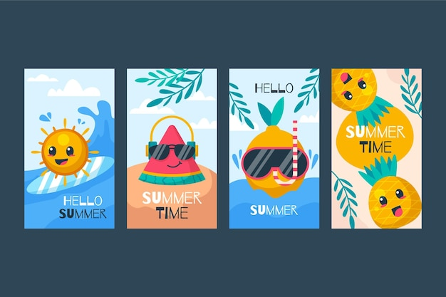 Flat summer instagram stories collection