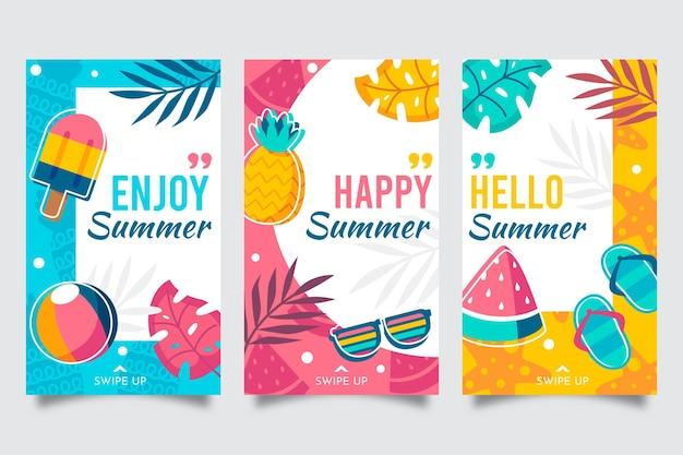 Raccolta di storie di instagram piatte estive