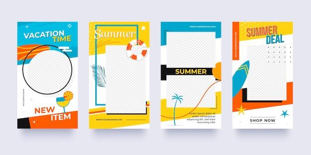 Collezione di storie instagram piatte estive