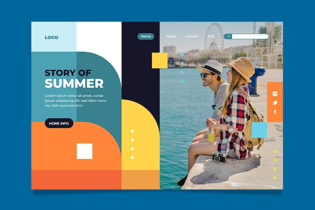 Flat summer landing page template with photo
