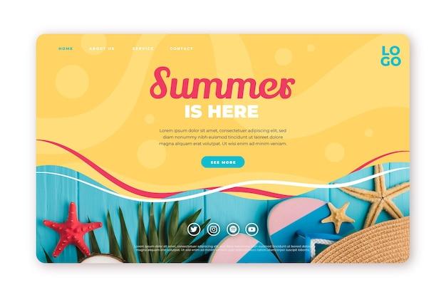 写真付きフラット夏のランディングページテンプレート